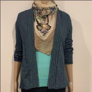 J CREW Navy Blue/Mint Striped Cardigan Size XXS